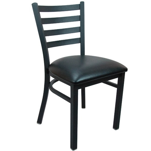 advantage black metal ladder back restaurant chair restaurant chairs caf chairs bistro. Black Bedroom Furniture Sets. Home Design Ideas