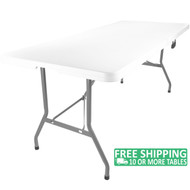 Advantage 8 ft. Bifold Rectangular White Plastic Folding Table [ADV-3096LZ-BIFOLD]