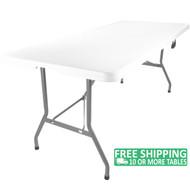 Advantage 8 ft. Bifold Rectangular White Plastic Folding Table [ADV-3096LZ-BIFOLD]