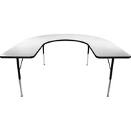 Advantage 60 in. x 66 in. Horseshoe Adjustable Activity Table - Grey/Black [AT6066HRSH-GB]