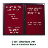 Ghent 48x60-inch Enclosed Burgundy Letter Board - Bronze Aluminum Frame [PB24860B-BG]