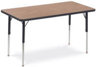 Virco Quick Ship 4000 Series Adjustable Height Rectangular Activity Table with Laminate Top and Char Black Frame - 30''W x 60''D x 22''H - 30''H [483060]
