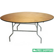 5-pack Advantage 6 ft. Round Wood Folding Banquet Tables [FTPW-72R-05]