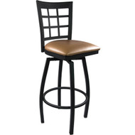 Advantage Window Pane Back Metal Swivel Bar Stool - Beige Padded [SBWPB-BFBGV]