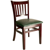 BFM Seating Delran Mahogany Wood Slat Back Chair with Vinyl Seat [WC102MH-X-BFMS]
