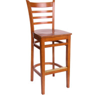 BFM Seating Burlington Cherry Wood Ladder Back Restaurant Bar Stool [WB101CHCHW]