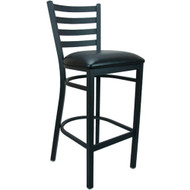 Advantage Ladder Back Metal Bar Stool - Black Padded [BFDH-6147BKLADBAR-TDR]