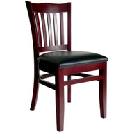 BFM Seating Princeton Mahogany Wood School Back Chair with Vinyl Seat [WC7218MH-X-BFMS]