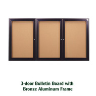 Ghent 48x96-inch Enclosed Cork Bulletin Board - Bronze Aluminum Frame [PB34896K]