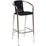 BFM Seating Madrid Aluminum Outdoor Woven Restaurant Bar Stool with Arms [PH51B]