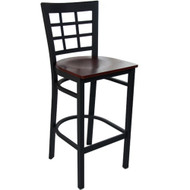 Advantage Window Pane Back Metal Bar Stool - Mahogany Wood Seat [BSWPB-BFMW]