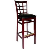 BFM Seating Pennington Mahogany Window Pane Bar Stool with Vinyl Seat [WB629MH-X-BFMS]