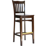 BFM Seating Princeton Walnut School Back Bar Stool with Wood Seat [WB7218WA-BFMS]
