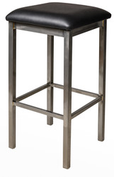 BFM Seating Trent Clear Coat Metal Backless Bar Stool with Vinyl Seat [2510BV-CL]