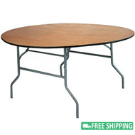 10-pack Advantage 66 in. Round Wood Folding Banquet Tables [FTPW-66R-10]