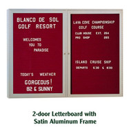 Ghent 48x60-inch Enclosed Burgundy Letter Board - Satin Aluminum Frame [PA24860B-BG]
