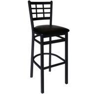 BFM Seating Marietta Black Metal Window Pane Bar Stool with Vinyl Seat [2163B-SBV]