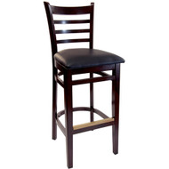 BFM Seating Burlington Walnut Wood Ladder Back Bar Stool with Vinyl Seat [WB101WA-X-BFMS]