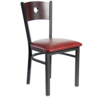 BFM Seating Darby Black Metal Circle Wood Back Restaurant Chair with Vinyl Seat [2152CBLV-SB-BFMS]