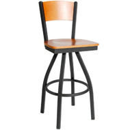 BFM Seating Dale Metal Solid Wood Back and Seat Restaurant Swivel Bar Stool [2150SW-BFMS]