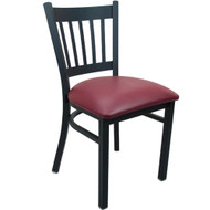 Advantage Black Metal Vertical Slat Back Chair - Burgundy Padded [RCVB-BFRV]