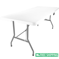 15-pack Advantage 8 ft. Bifold Rectangular White Plastic Folding Table [ADV-3096LZ-BIFOLD-15]