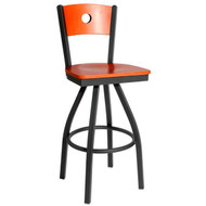 BFM Seating Darby Metal Circle Wood Back and Seat Restaurant Swivel Bar Stool [2152SW-SB-BFMS]