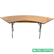 5-pack Advantage 6 ft. Serpentine Wood Folding Tables [FTPW-SERP-05]