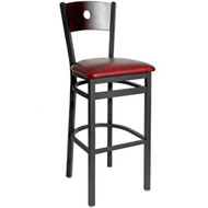 BFM Seating Darby Black Metal Circle Wood Back Restaurant Bar Stool with Vinyl Seat [2152B-SBV]