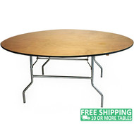 Advantage 6 ft. Round Wood Folding Banquet Table [FTPW-72R]