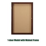Ghent 24x18-inch Enclosed Cork Bulletin Board - Walnut Frame [PN12418K]