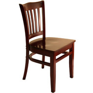 BFM Seating Princeton Mahogany Wood School Back Restaurant Chair [WC7218MHMHW]