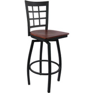 Advantage Window Pane Back Metal Swivel Bar Stool - Mahogany Wood Seat [SBWPB-BFMW]