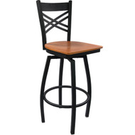 Advantage Cross Back Metal Swivel Bar Stool - Cherry Wood Seat [SBXB-BFCW]