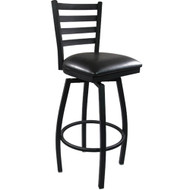 Advantage Ladder Back Metal Swivel Bar Stool - Black Padded [BFDH-706688LAD-BK-BAR-TDR]