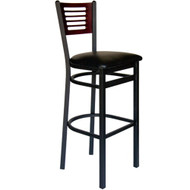 BFM Seating Espy Black Metal Slotted Wood Back Restaurant Bar Stool with Vinyl Seat [2151B-SBV]