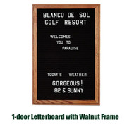 Ghent 36x30-inch Enclosed Black Letter Board - Walnut Frame [PN13630B-BK]