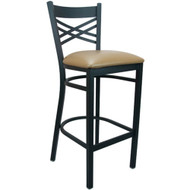 Advantage Cross Back Metal Bar Stool - Beige Padded [BSXB-BFBGV]