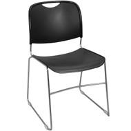 Advantage Black High Density Stack Chair - Chrome Frame [HDSTK-BLK]