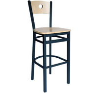 BFM Seating Darby Black Metal Circle Wood Back Restaurant Bar Stool [2152B-SBW]