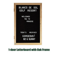 Ghent 36x24-inch Enclosed Black Letter Board - Oak Frame [PW13624B-BK]