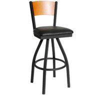 BFM Seating Dale Solid Wood Back Metal Restaurant Swivel Bar Stool with Vinyl Seat [2150S-SBV]
