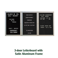 Ghent 48x96-inch Enclosed Black Letter Board - Satin Aluminum Frame [PA34896B-BK]