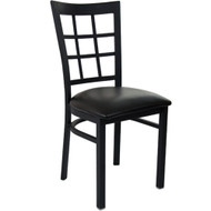 Advantage Black Metal Window Pane Back Chair - Black Padded [RCWPB-BFBV]