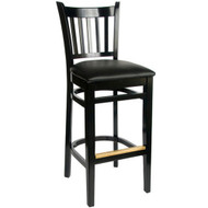 BFM Seating Delran Black Wood Slat Back Bar Stool with Vinyl Seat [LWB102BLV]
