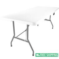 10-pack Advantage 8 ft. Bifold Rectangular White Plastic Folding Table [ADV-3096LZ-BIFOLD-10]