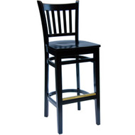 BFM Seating Delran Black Wood Slat Back Restaurant Bar Stool [LWB102BLBLW]