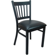 Advantage Black Metal Vertical Slat Back Chair - Black Padded [BFDH-88398BKTRV-TDR]