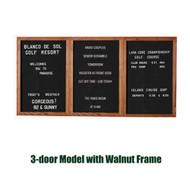 Ghent 48x96-inch Enclosed Black Letter Board - Walnut Frame [PN34896B-BK]