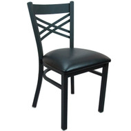Advantage Black Metal Cross Back Chair - Black Padded [BFDH-6147BK-TDR]
